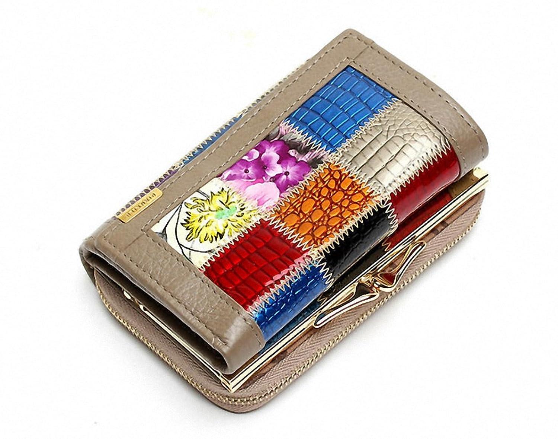 3 Fold Genuine Leather Women Wallets Patchwork Coin Pocket Purse Female Clutch Bag Lady Money Clip