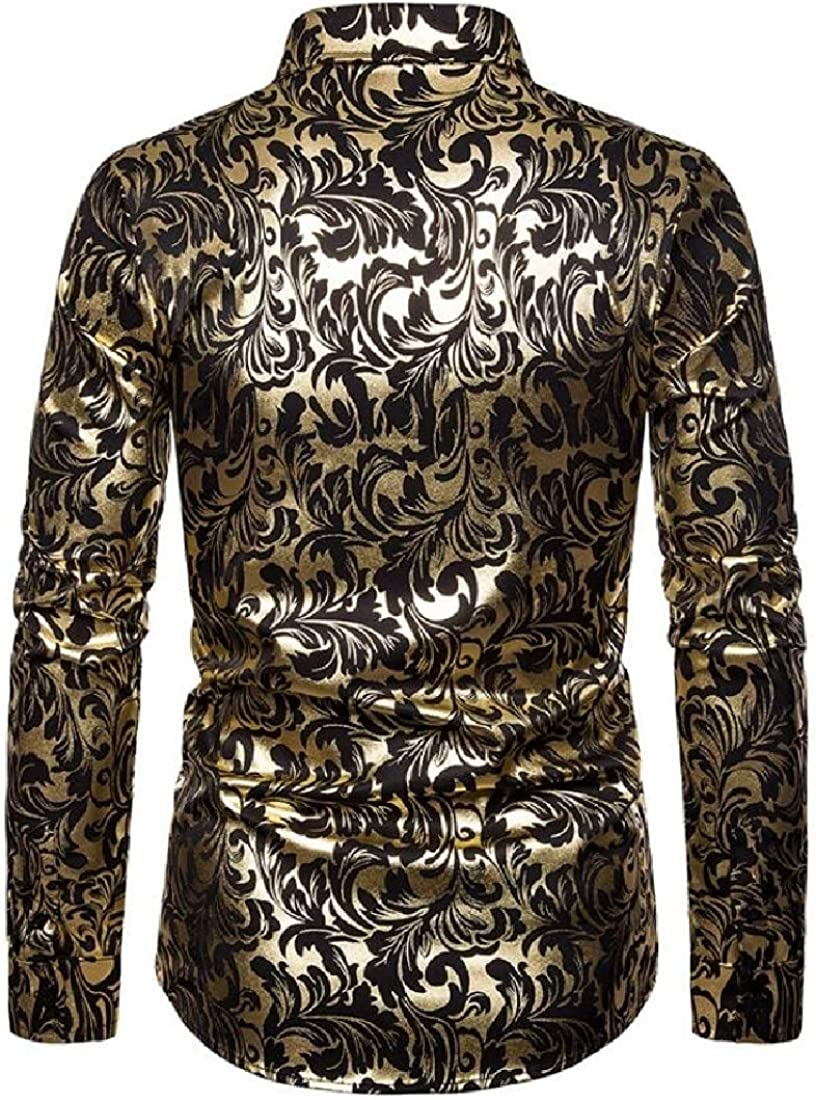 ouxiuli Mens Luxury Rose Gold Shiny Button Down Flowered Printed Stylish Shirt
