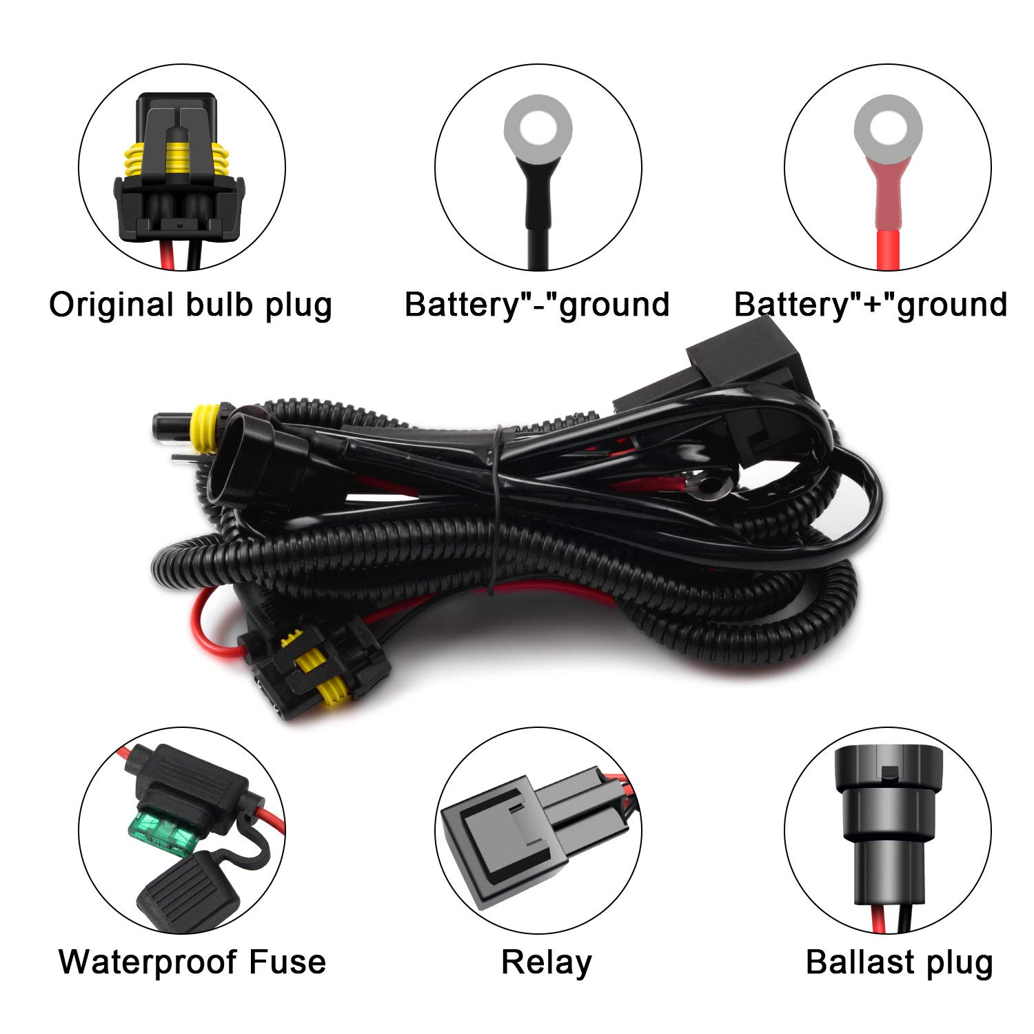 WinPower HID Relay Wiring Harness 12V Original Car Battery Circuit Protection Cable Universal for H1 H3 H4 H7 H8 H9 H11 H13 HB3 HB4 HIR2 Xenon Conversion Kit Upgrade Refit