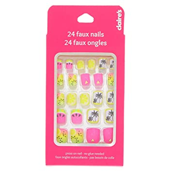 Amazon.com: Claire s neón tropical uñas postizas: Beauty