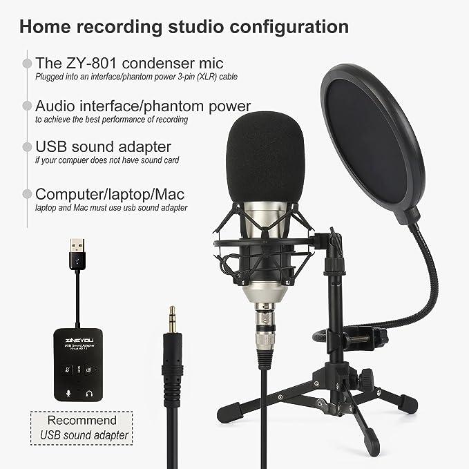 ZINGYOU micrófono de estudio profesional, ZY-801 computadora de escritorio cardioide condensador micrófono con trípode para PC grabación, ...
