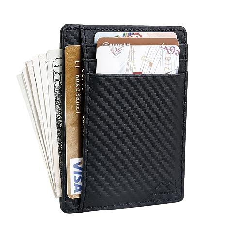 1707e50200 Portafoglio Uomo Piccolo Sottile Slim Porta Carte di Credito in Vera Pelle  Portadocumenti Uomo con Blocco