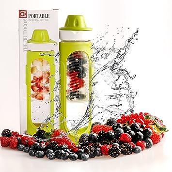 Botella infusora de frutas, cristal, borosilicato, botella de agua con infusor de frutas