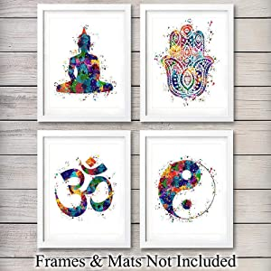 Meditation Zen Wall Art Prints - Unframed Set Of 4 - Buddha, Yin Yang, Om And Hamsa Fatima Hand - Chic Home Decor - Great Gift For Yoga Fans – Ready Frame (8x10) Watercolor Photos