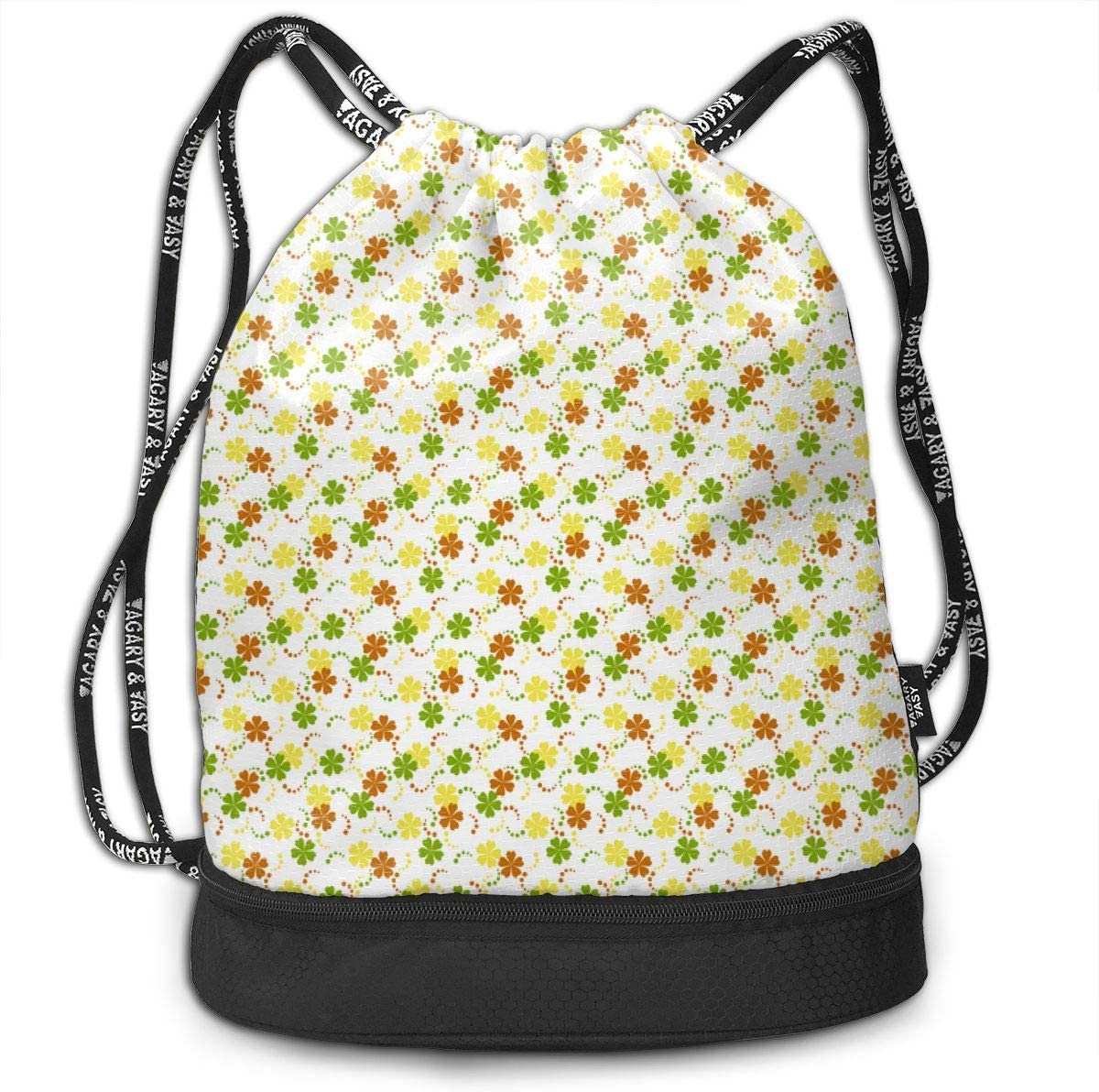Citrusy Ditsy Flowers On White Drawstring Backpack Sports Athletic Gym Cinch Sack String Storage Bags for Hiking Travel Beach
