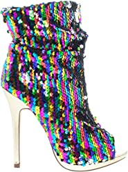 afd660c04389 Liliana Multi Color Sequins Peep Toe High Heel Above Ankle Bootie