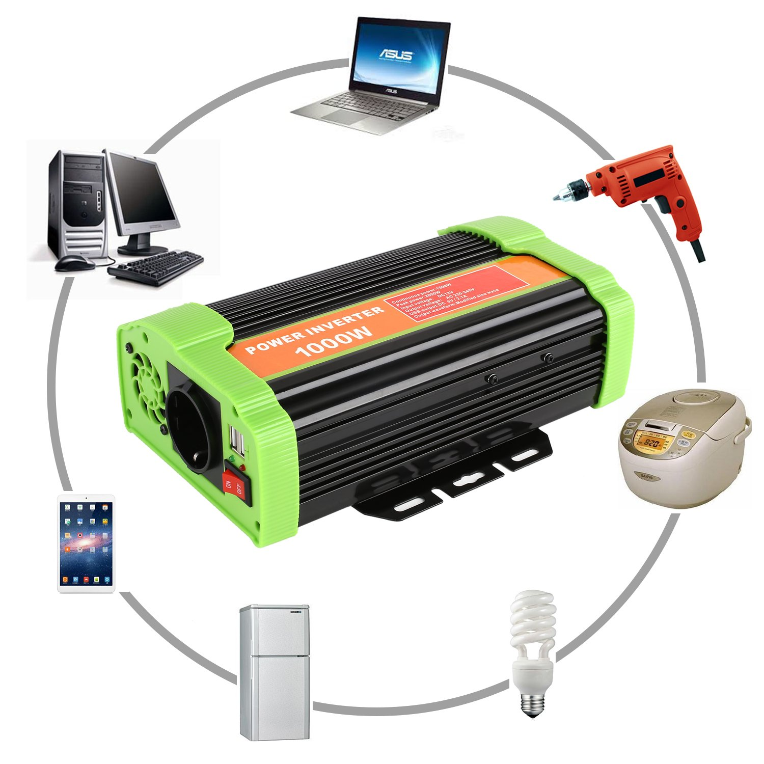 Amazon.es: MVPOWER Inversor de Corriente, 12V 220V 1000W ...