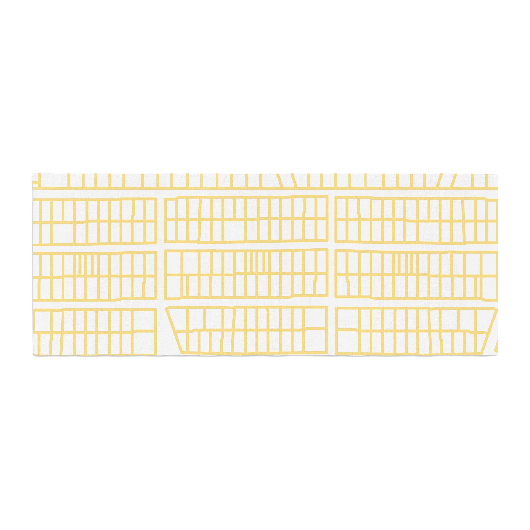 Kess InHouse Love Midge City Streets And Parcel Maps Yellow Travel Bed Runner, 34'' x 86''