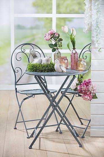 Homeshop Gartenmöbel Set Tisch Und 2 Stühle Eisen Grau