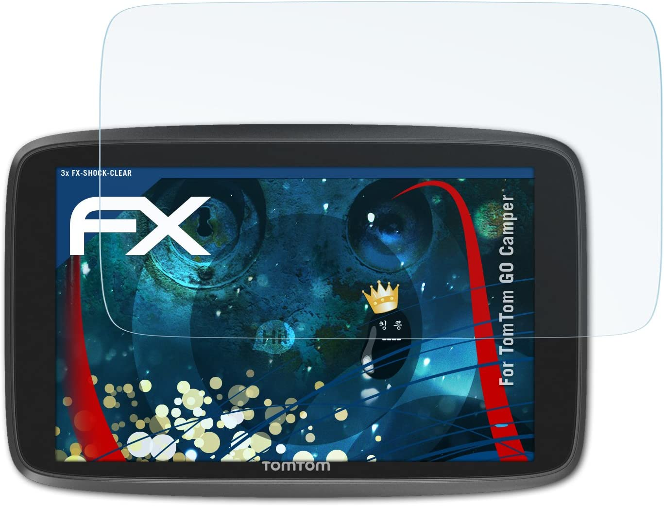 ultraklare und sto/ßd/ämpfende FX Folie atFoliX Schutzfolie kompatibel mit Tomtom GO Camper Panzerfolie 3X