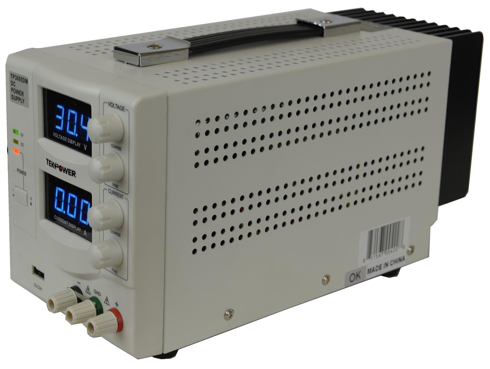 TekPower TP3005DM Linear Adjustable Digital DC Power Supply 30V 5A with a 5V/2A USB Port,Lab Grade, Super Clean and Quiet by Tekpower (Image #3)