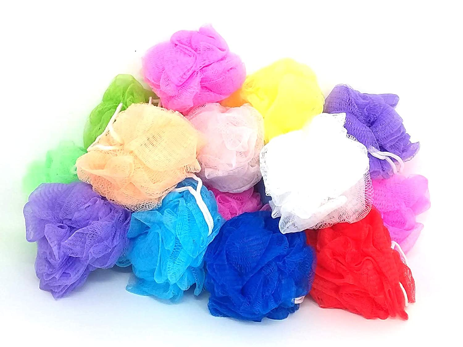 20 Bath or Shower Sponge Loofahs Pouf Large 4 inch Mesh Assorted Colors WHOLESALE BULK LOT Chachlili