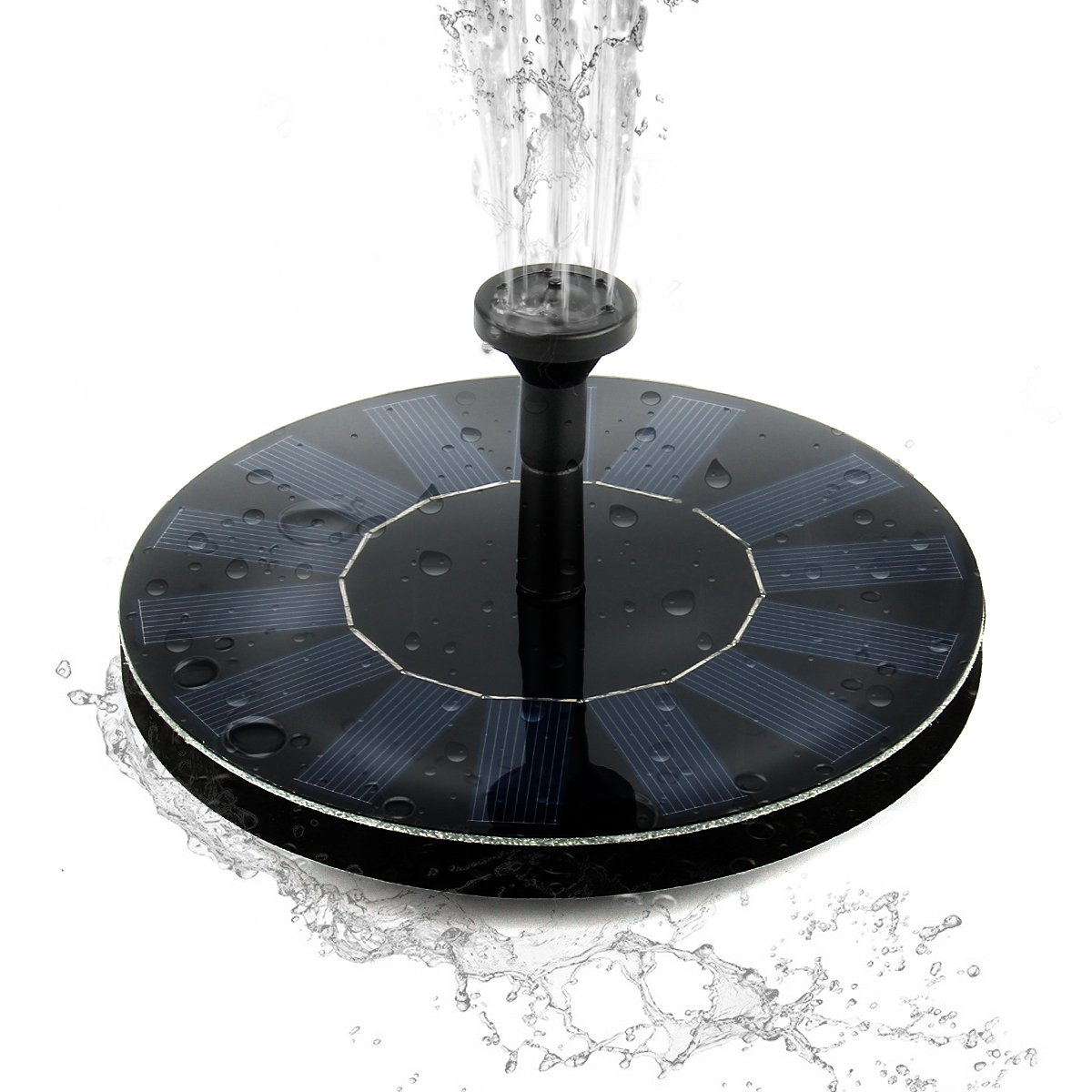 Solar Fountain Pump for Bird Bath,Small Water Fountain Pump, SOONHUA Floating Outdoor Solar Powered Panel Kit for Garden,Pool,Pond,Patio Decoration&Watering,Free Standing, 1.4W
