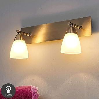 Lampenwelt Wandleuchte, Wandlampe Bad \'Nikla\' dimmbar (Modern) in Bronze  aus Glas ua für Badezimmer (2 flammig, G9, C, inkl. Leuchtmittel) - ...