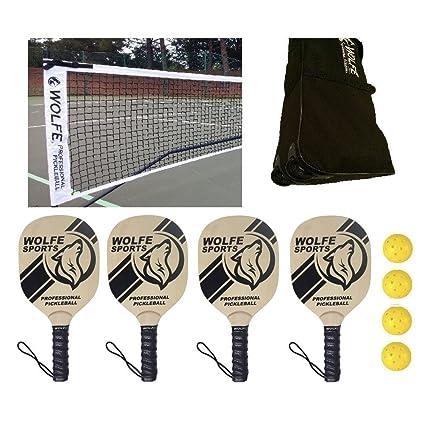 Amazon.com : Wolfe Sports Portable Pickleball Net SET Net/Paddles/Balls (Tournament) : Sports & Outdoors
