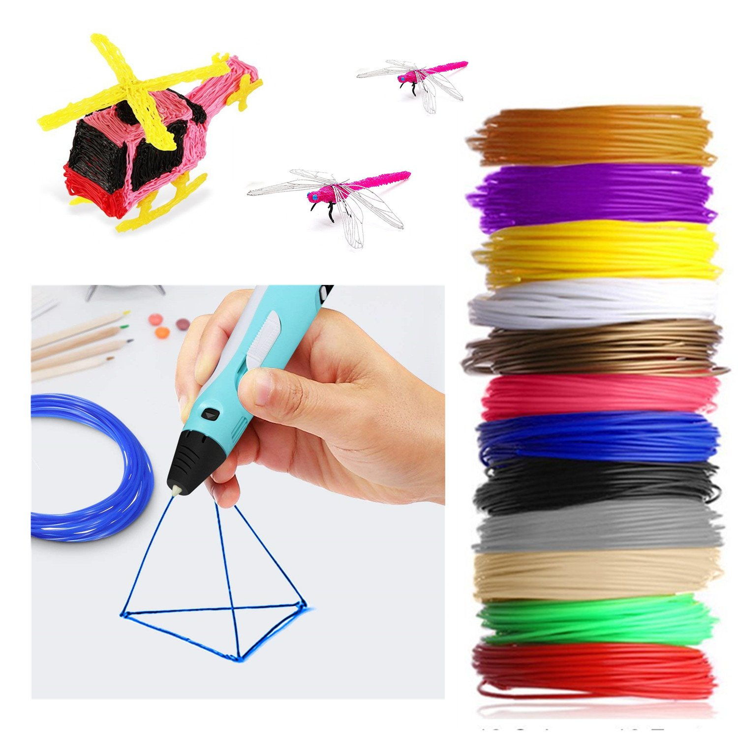 3D Pen Filament 24 Colours 5m/Colour TICOSH 3D PLA Printing Material Refills 1.75mm Multicolour for 20 Different Colours 16 Feet Each Prefect DIY for Kids and Adults Fit for Polaroid Aerb NEXGADGET Tecboss Amzdeal SOYAN Intelligent 3D Pen