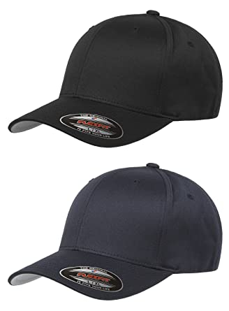 aa3a048d Flexfit Unisex Wooly Combed Twill Cap (6277) 2-Pack (XL/XXL, Black & Dark  Navy)