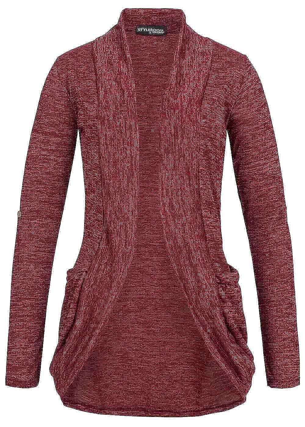 b8da91190947f8 Styleboom Fashion Damen Turn-Up Cardigan 2 Taschen bordeaux rot: Amazon.de:  Bekleidung