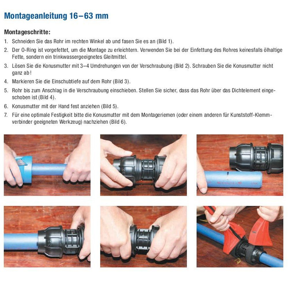 Stabilo-Sanitaer PE Rohr Verschraubung 25 x 25 mm Winkel 90 Grad Rohrwinkel Klemmverbinder Klemmverschraubung Fitting Verbinder