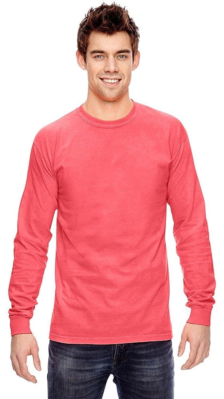 Comfort Colors Ringspun Garment-Dyed Long Sleeve T-Shirt, NEON RED ORANGE, S