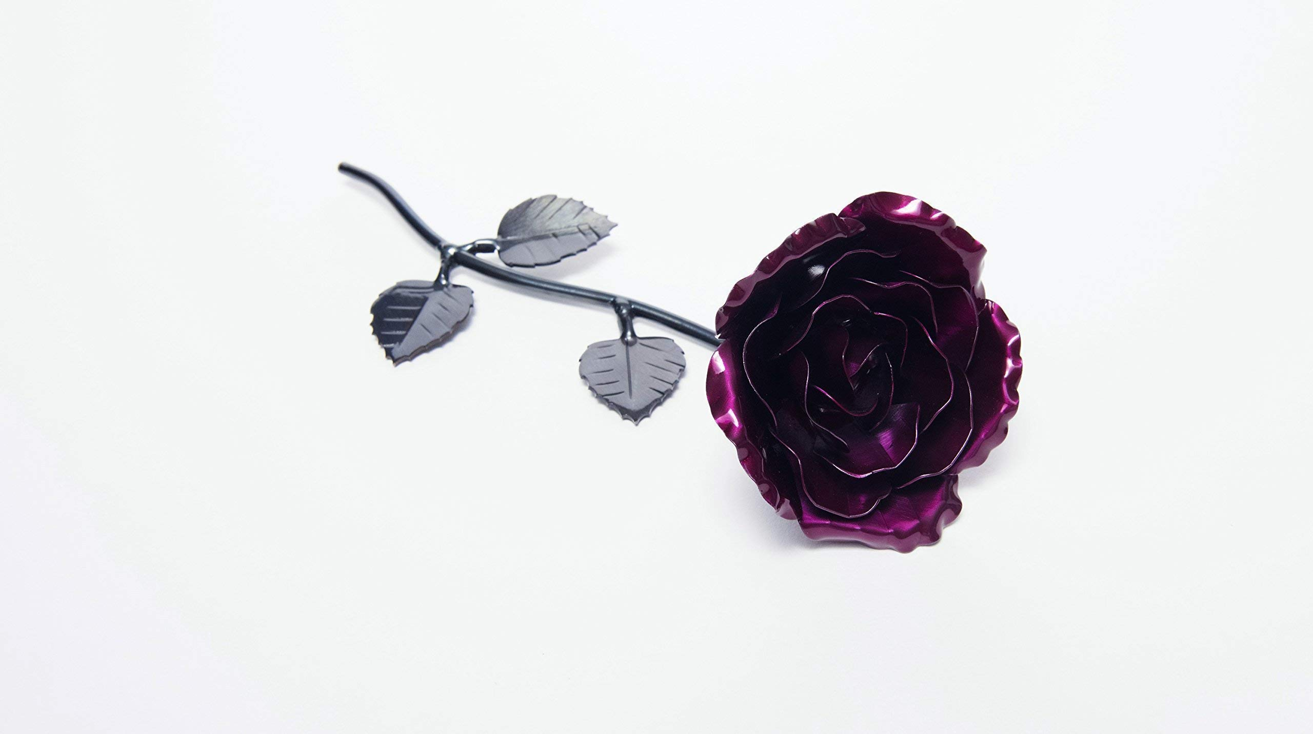 Personalized Gift Hand-Forged Wrought Iron Magenta Metal Rose- Valentine's Day Gift