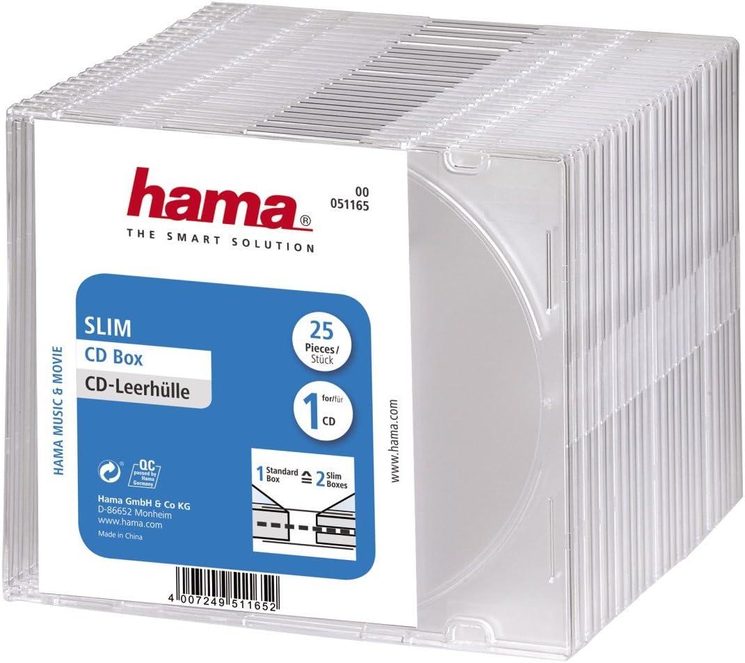 Hama CD Slim Box, 25 pcs./Pack 1 Discos Transparente - Fundas para ...