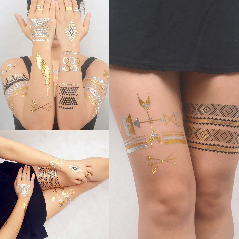 COKOHAPPY Metálico Destello Temporales Tatuaje 6 Diferente hoja ...