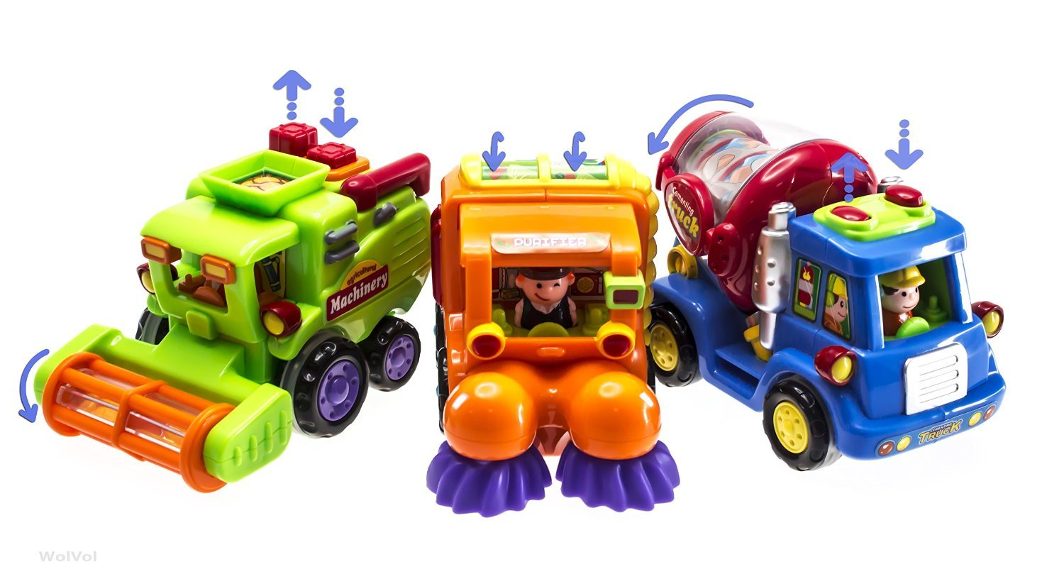WolVol (Set of 3) Push and Go Friction Powered Car Toys for Boys - Street Sweeper Truck, Cement Mixer Truck, Harvester Toy Truck (Cars Have Automatic Functions) by WolVol (Image #5)