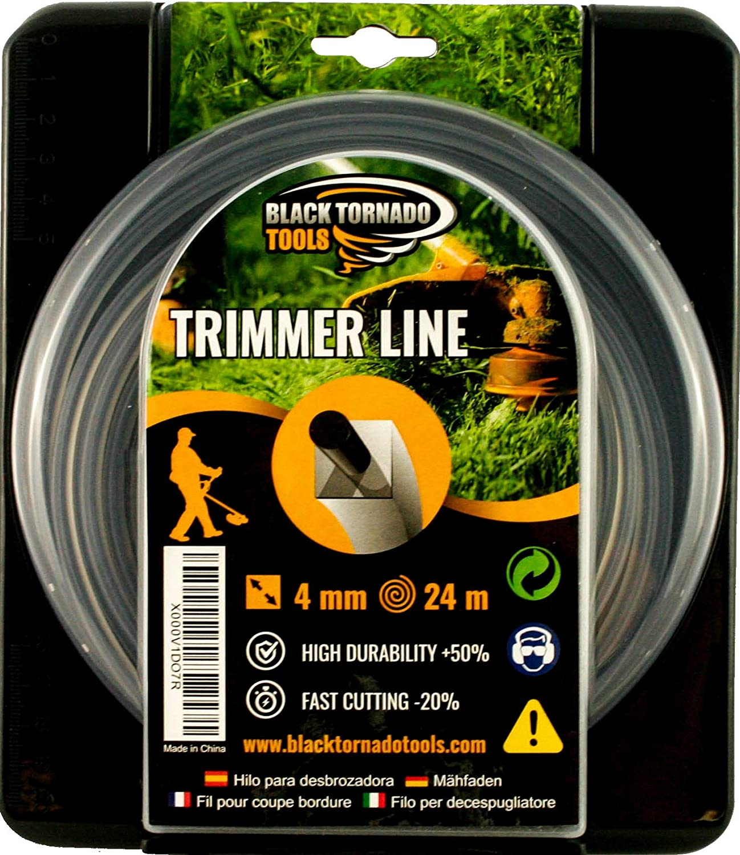 Hilo para desbrozadora - Doble - Cuadrado - 4mm - 24m - Calidad Ultra Professional - 2 Hilos en 1 - Embalaje Premium (4,0 mm x 24 m) Black Tornado Tools.: Amazon.es: Jardín