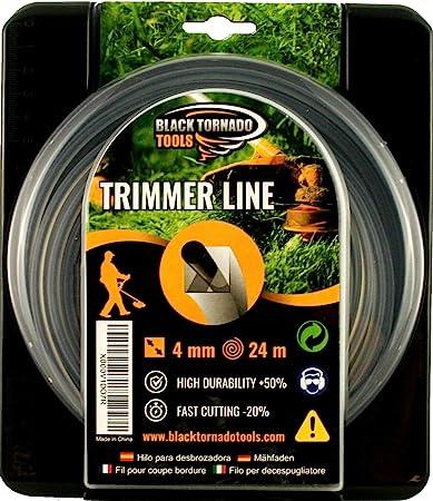Hilo para desbrozadora - Doble - Cuadrado - 4mm - 24m - Calidad Ultra Professional - 2 Hilos en 1 - Embalaje Premium (4,0 mm x 24 m) Black Tornado Tools.