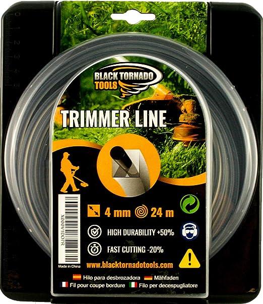 Hilo para desbrozadora - Doble - Cuadrado - 4mm - 24m - Calidad Ultra Professional - 2 Hilos en 1 - Embalaje Premium (4,0 mm x 24 m) Black Tornado ...