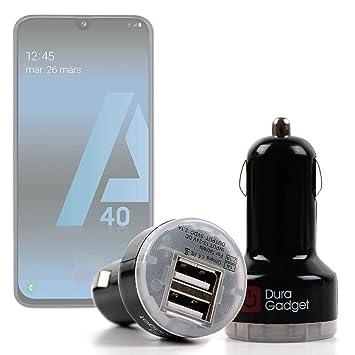 DURAGADGET Cargador Mechero del Coche para Smartphone Samsung Galaxy A20, Samsung Galaxy A20E, Samsung Galaxy A40, Samsung Galaxy A70 - con Dos ...