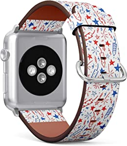 Compatible with Apple Watch Series 5, 4, 3, 2, 1 (Big Version 42/44 mm) Leather Wristband Bracelet Replacement Accessory Band + Adapters - Doodles Fourth July