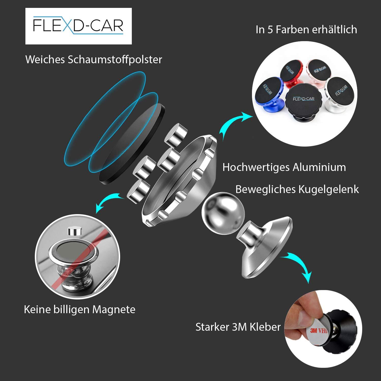 Blau FLEXD-X Auto Handyhalterung Magnet Stark Handyhalter f/ürs Auto magnetisch Smartphone Halterung im Set KFZ/360/°