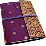 Carnet de notes/calepin en sari - commerce équitable - moyen 110 x 160 mm violet