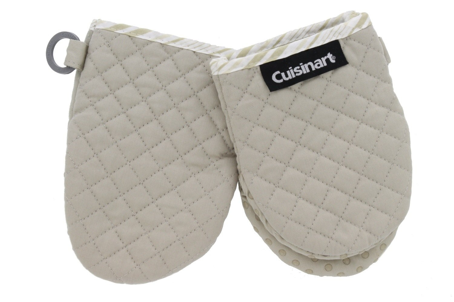 Cuisinart Quilted Mini Kitchen Oven Mitts/Gloves w/Silicone for Easy Gripping, Heat Resistant up to 500 Degrees F- Light Tan w/Tan Stripes