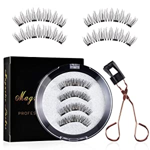 DKAF Magnetic Lashes Clip Eyelashes Set, Not Easy to Fall Off Without Glue Easy to Use, Premium Magnetic Clip with a Pair of 3D Magnets Reusable False Lashes