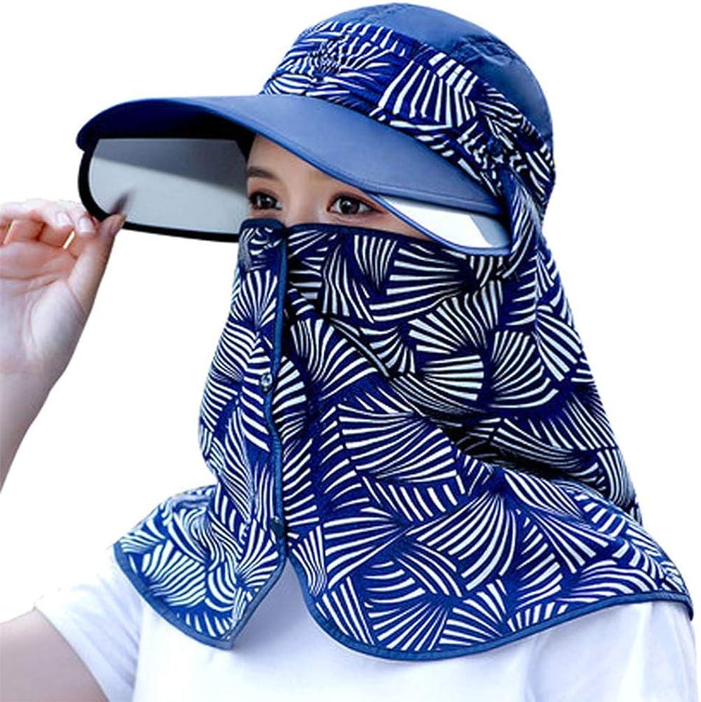VALICLUD Gorra para El Sol Sombrero Anti-UV Simple Gorra para El Cuello Gorra de Verano para La Cara Sombrero para La Recolección del Té Al Aire Libre Montar a Caballo
