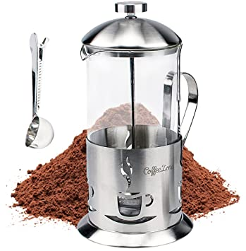 CoffeeZone Francés Presione el café y la máquina de té con una taza de medir clip (34 oz / 1000 ml, mate): Amazon.es: Hogar