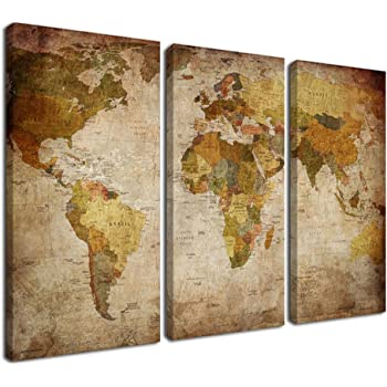 Framed Canvas Print Stretched World Map Wall Art Home Office Decor