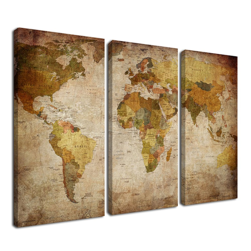 Ardemy Canvas Wall Art World Map 3 Panels Vintage Abstract Painting, Framed Old Map of The World Artwork Prints Ready to Hang for Living Room Bedroom Kitchen Home and Office Decor