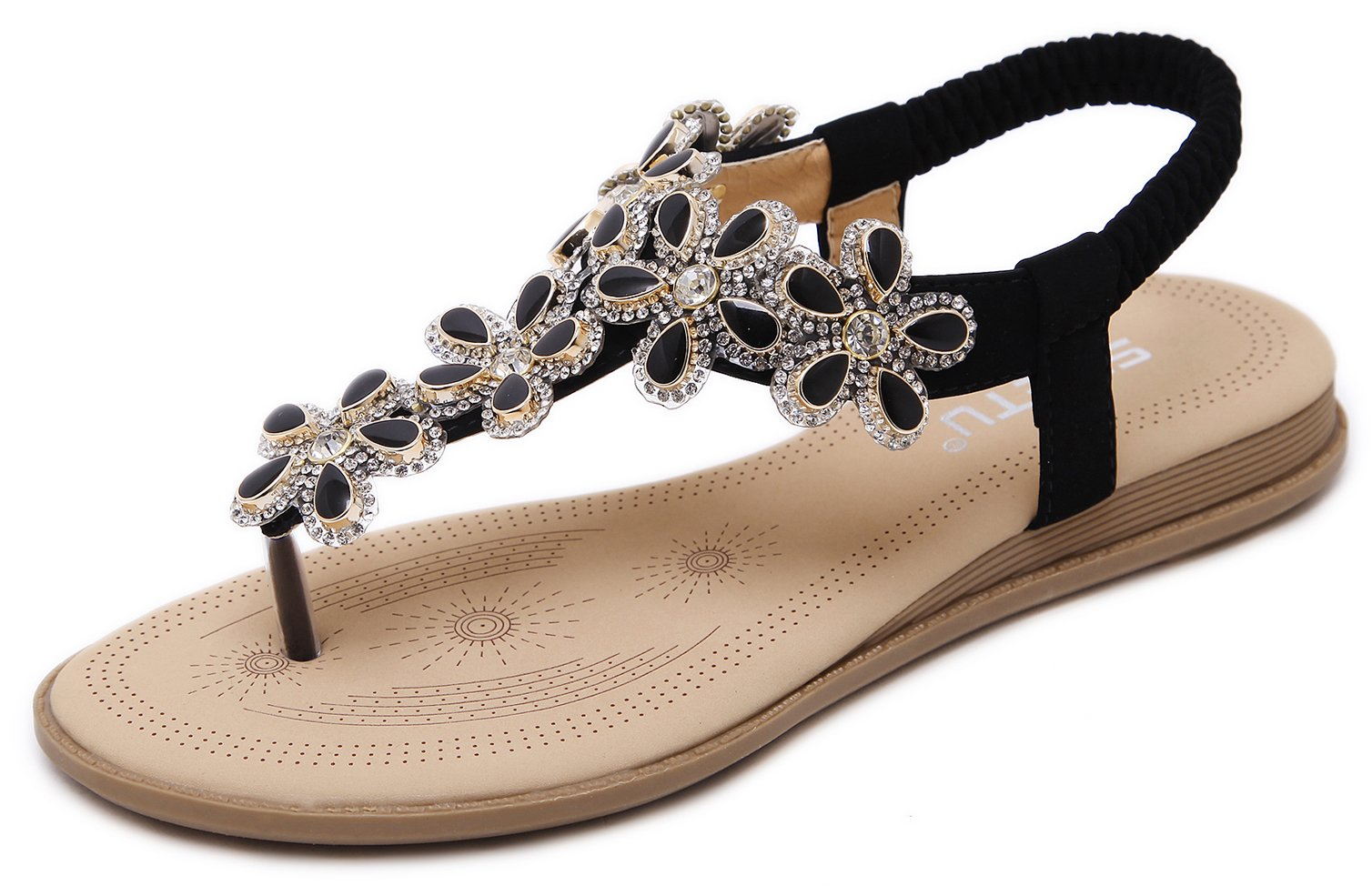 Women's Glitter Sandals, Bohemian Summer T-Strap Flat Thongs, Mysterious Black Floral Rhinestone Jewelry Gem, Open Toe Herringbone Comfy T Strap Shoes for Dressy Casual Jeans Daily Wear Beach Holiday