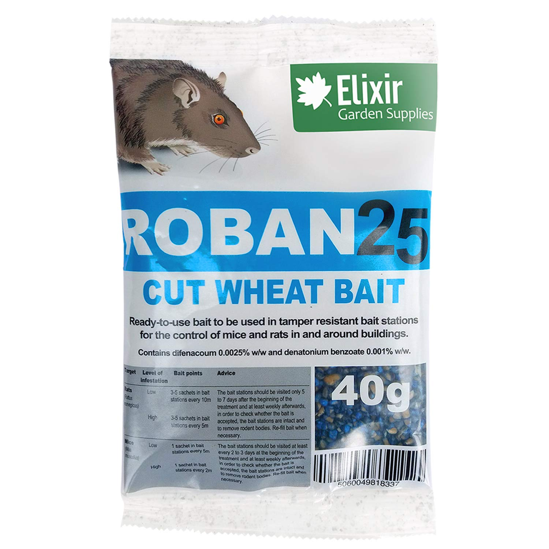 Elixir Gardens Roban25 Cut Wheat Mouse and Rat Poison | Strongest Available Online 40g Sachet Elixir Gardens ®