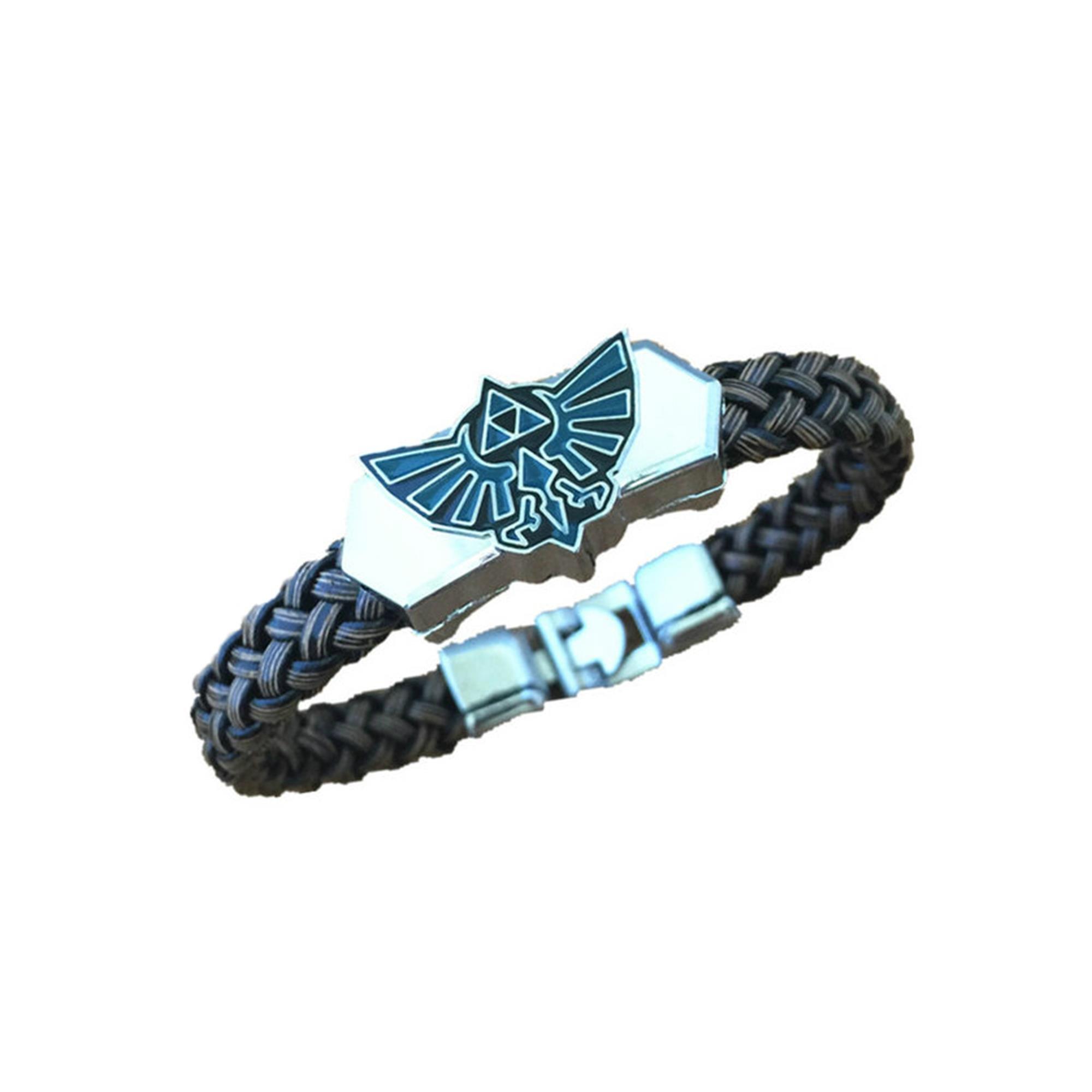 Athena Brand Game Legend of Zelda Logo Leather Braided Bracelet In Gift Box