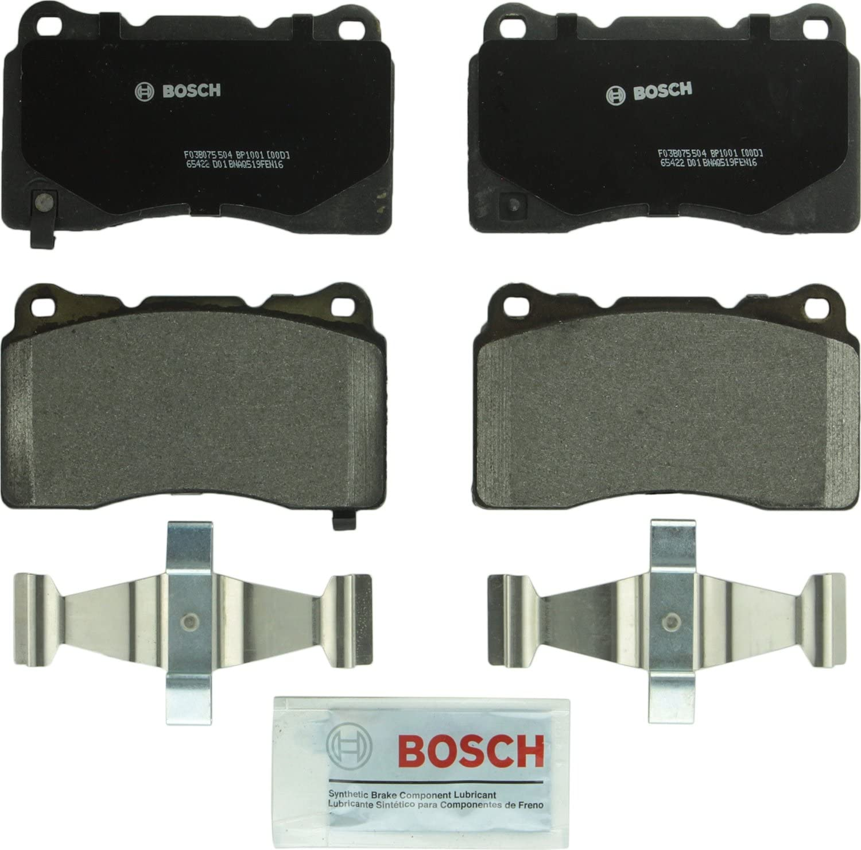Bosch BP1001 QuietCast Premium Semi-Metallic Disc Brake Pad Set For Select Buick, Cadillac, Chevrolet, DeTomaso, Ford, Hyundai, Maserati, Mitsubishi, Pontiac, Saab, Subaru, Volvo; Front & Rear