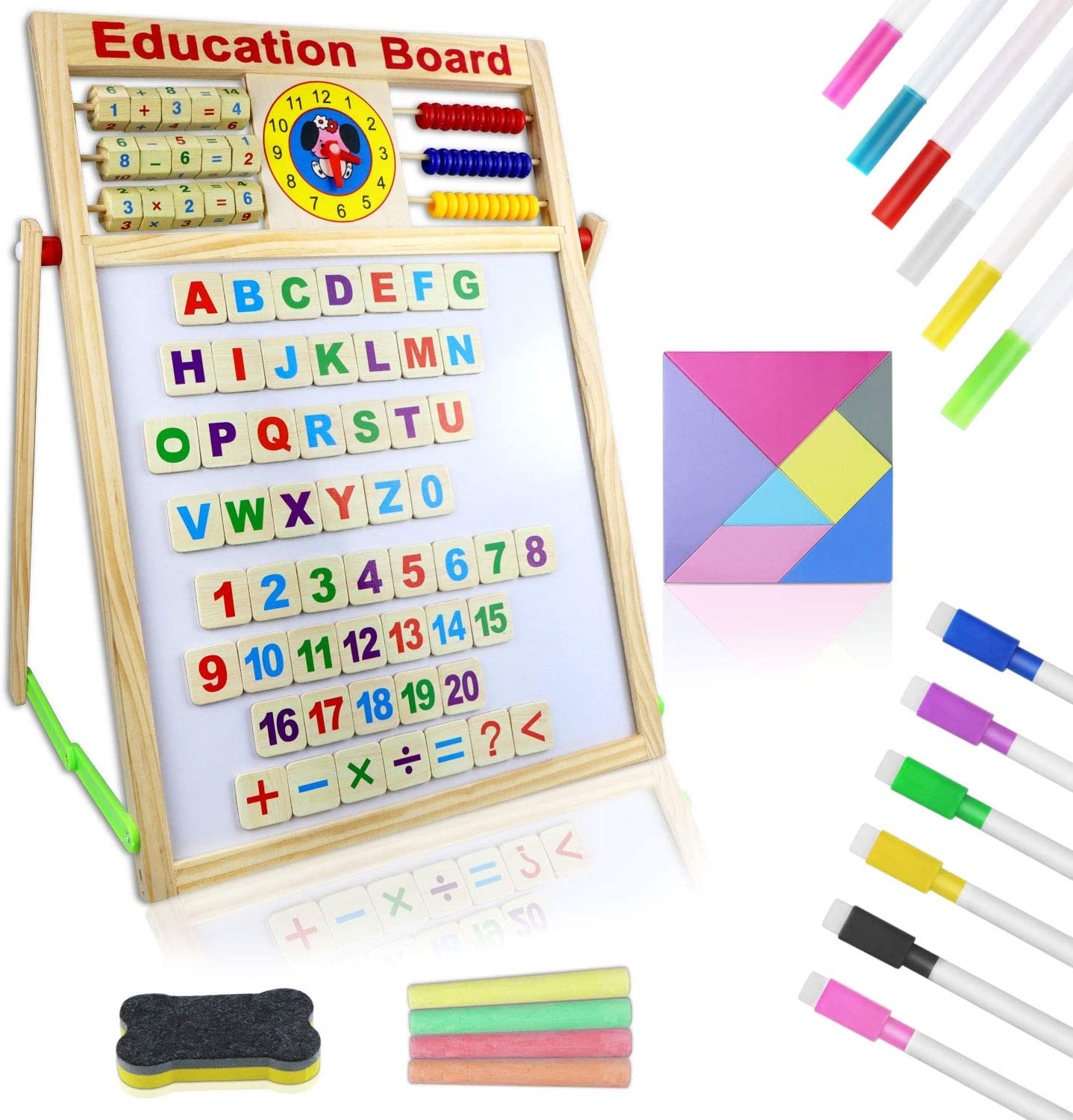 Wooden Art Easel Classroom Home Education Toddlers Toys Gifts Magnetic Whiteboard and Chalkboard with ABC Magnets Alphabet Letters Number Learning Set Double Sided Tabletop Drawing Board for Kids