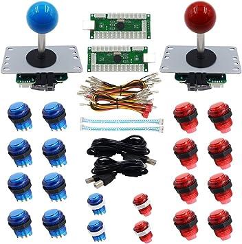 Sjjx Led Arcade Diy Parts 2x Zero Delay Usb Encoder 2 X 8 Way Joystick 20x Led Illuminated Push Buttons For Mame Jamma Arcade Project Red Blue Kits Spielzeug