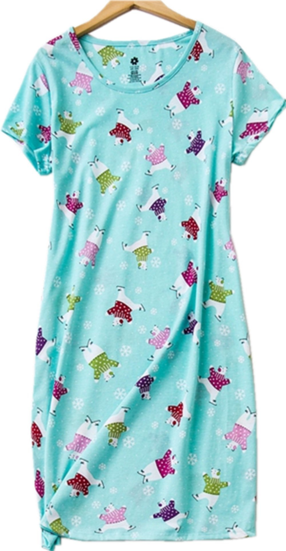 Amoy-Baby Women's Cotton Blend Green Floral Nightgown Casual Nights XTSY001-Color Bear-2XL