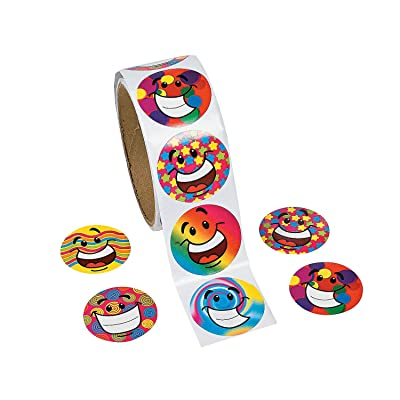 Fun Express - Funky Smile Face Stickers (100pc) - Stationery - Stickers - Stickers - Roll - 100 Pieces: Home & Kitchen