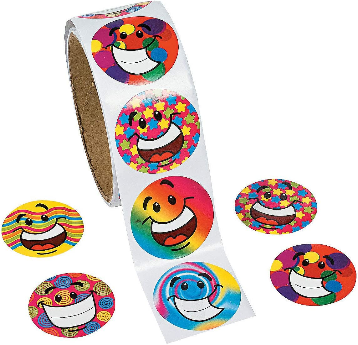 Fun Express - Funky Smile Face Stickers (100pc) - Stationery - Stickers - Stickers - Roll - 100 Pieces